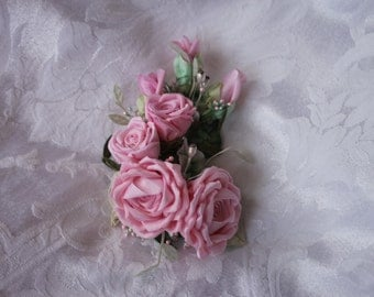 Wedding Hair Accessory Corsage Bridal Floral Pin Ribbonwork Applique Corsage with Light Pink Roses Vintage Stamens, Crystals