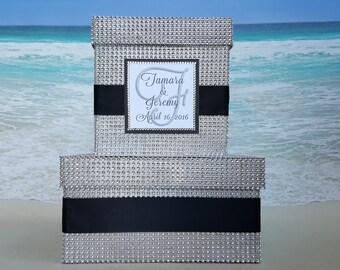 Bling Card Box - Your choice of color with Personalized Monogram - Money Box Cardbox Rhinestone Diamond Crystal Silver - Custom Wishing Well