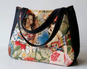 Mexican Pinups Tote Bag, Mexican Bag, Ethel Bag, Señoritas, Women's Handbag, Knitting bag, Mexican Folklore, Denim Bag