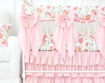 Felicity's Floral Ruffled Bumperless Baby Bedding  Crib Set Vintage Pink & Aqua   Floral Baby Bedding   Scalloped Teething Guard   Crib Bows
