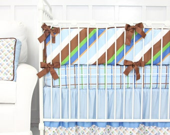 CLEARANCE {reg price 389}   3pc Set Inculdes crib skirt, sheet, and bumpers   Tanner Boy Baby Bedding