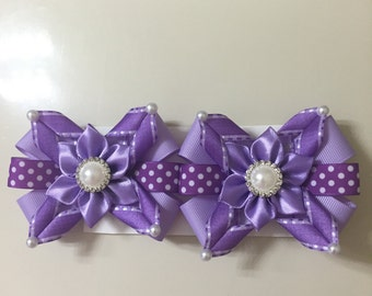 Adorable purple girl hair clips handmade.