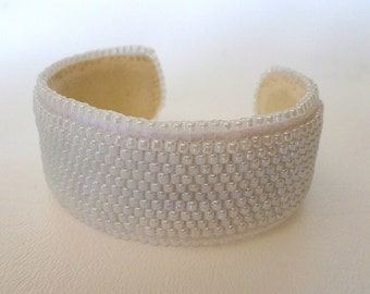 7 inch Cuff Bracelet, Handcrafted Peyote Stitch w White Pearlized Chinese Seed Beads, Beadweaving, Boho, Bridal Christmas Gift, ID 471123499