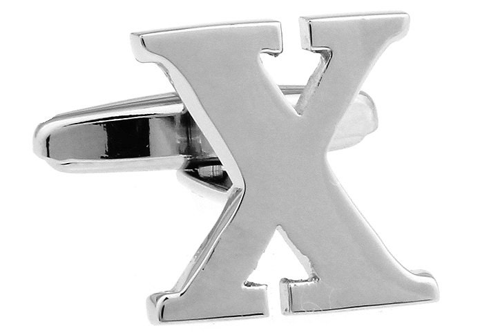 classic x cufflinks silver tone initial alaphabet cut letters x cuff links groom father