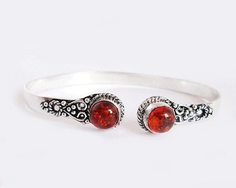 Amber Bracelet, Silver Bracelet, Brass Metal Bracelet, tribal armlet, gypsy armlet, body jewelry Silver armlet Handmade Armlet, Sh293