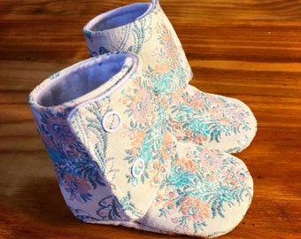 Paisley booties for 3/6 month old girl