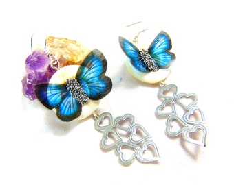 925 butterfly earrings blue heart with mother of pearl heart