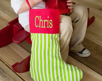 holiday red and green stripe stocking monogrammed christmas stocking custom embroidered stockings - Monogrammed Christmas Stockings