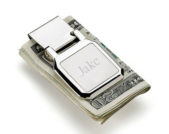 Personalized Folding Money Clip - Stainless Money Clip - Engraved Money Clip (265)