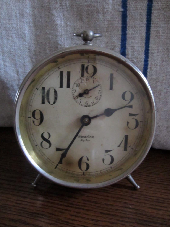 Vintage Westclox Big Ben Rustic Alarm Clock Silver Colored