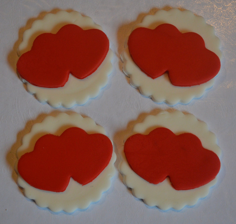 12 Fondant Heart Cupcake Toppers Fondant Valentine s Day