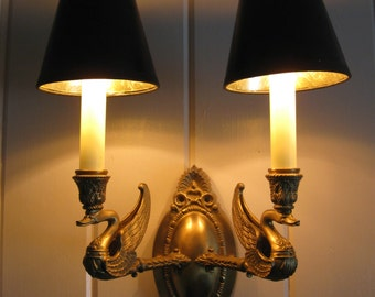 Stunning,Vintage French Empire Style Solid Brass Swan Dual Light Wall Sconce...