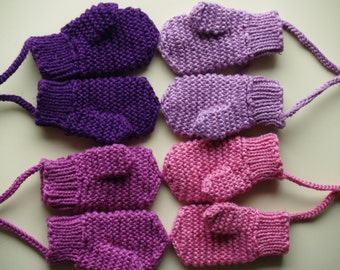 Merino Wool mittens for toddler/ children. Hand Knit Accessory for girls, Purple mittens with(out) string. More colors . Size 1-3-6-10 years