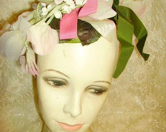 Cutest Vintage Floral Flowers Ladies Hat Flower Garden Hat 1950's