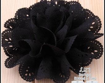 "4"" BLACK eyelet flowers, 2 piece"