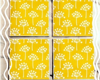 Yellow Floral Retro Tile Coasters