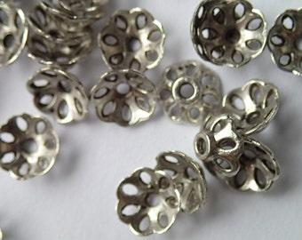 Bead caps, antique silver bead caps, Tibetan style flower bead caps, lot of 50 silver bead caps, jewelry making supply findings