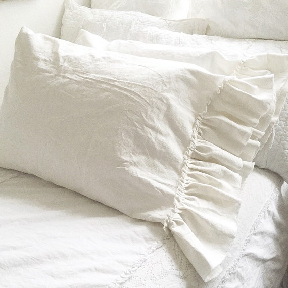 White Shabby Chic Pillow Cases : Shabby Chic Linen Pillow Sham White Ruffle by FarmHouseFare