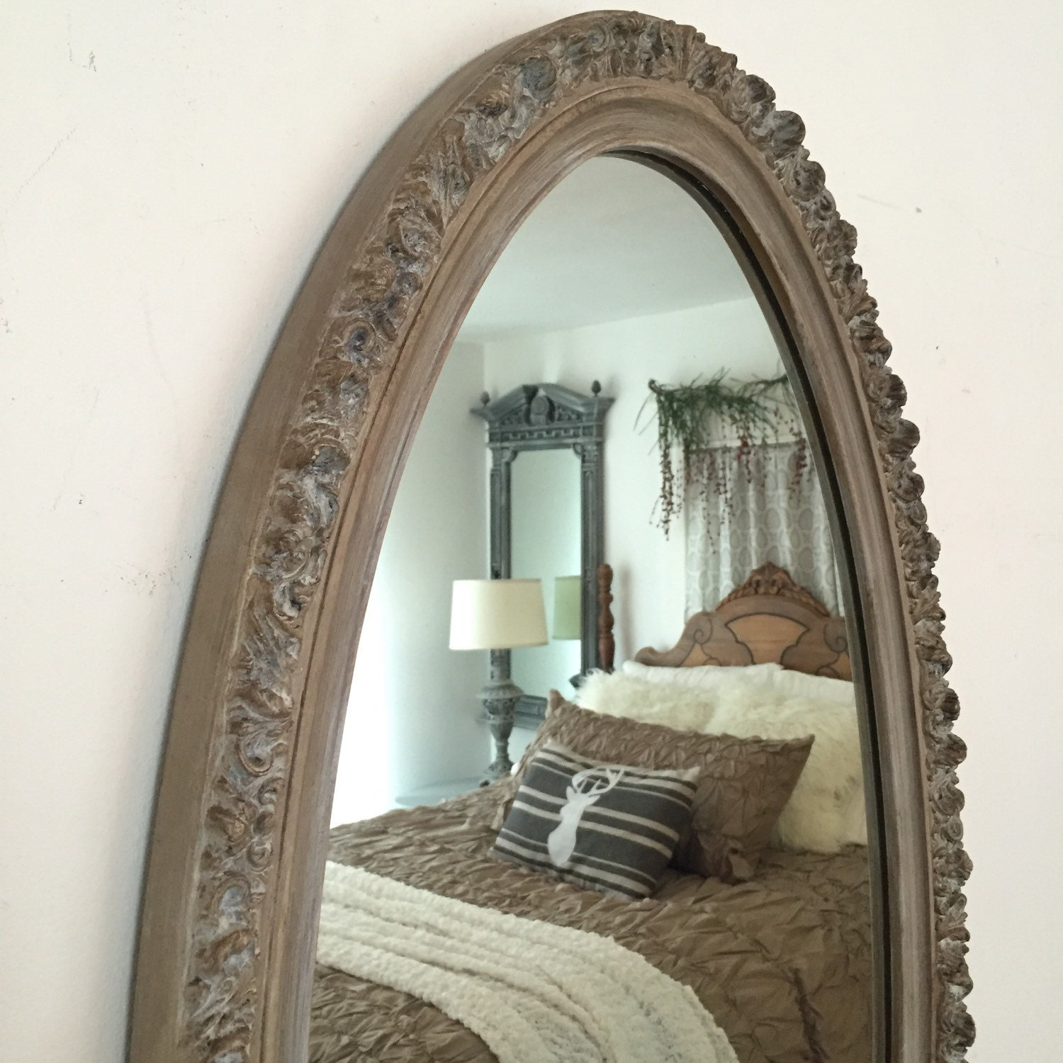 Rustic Oval Mirror Restoration Hardware Style Painted Bathroom