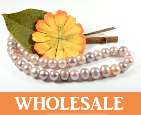 WHOLESALE 11mm - 12mm, large hole (2.5mm) genuine freshwater pearls,  natuarl round, natural lavender purple color  - 34+PCS per strand