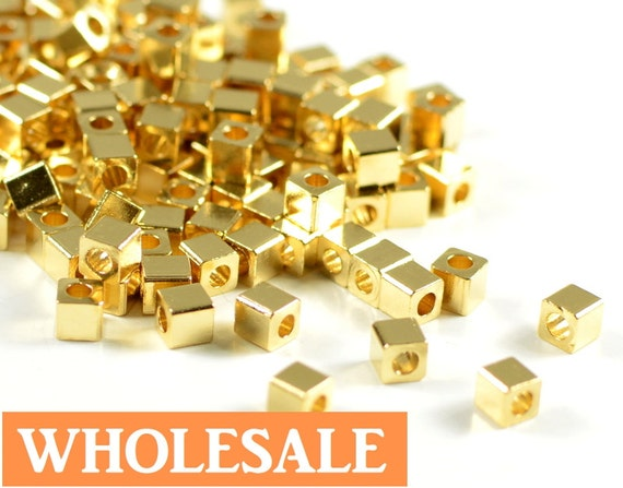 3mm Gold Cube WHOLESALE, metal square spacer beads, smooth edge, 24K gold electroplated beads - 200 pcs/ pkg