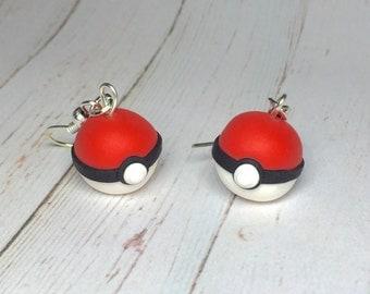 Pokemon Pokeball earrings, pokemon earrings, Pokemon jewelry, Pokemon Go jewelry, Pokemon jewellery, kawaii earrings, kawaii jewelry