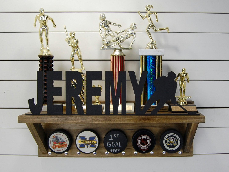 Personalized Hockey Puck Holder Amp Trophy Shelf