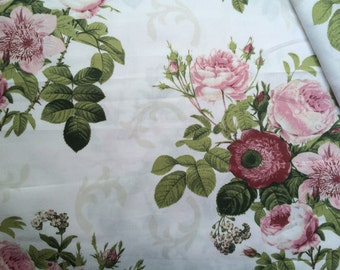 Cotton fabric Roses Shabby Chic Cotton sateen- by the yard