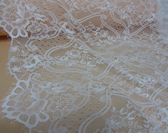 white Chantilly lace fabric sold by yard,rose Lace fabric, 150cm Eyelash lace for lace dress