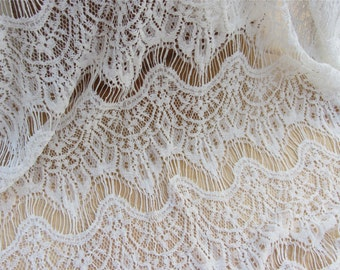 white  Eyelash Lace Fabric,cotton and nylon Lace Fabric by the Yard or Wholesale