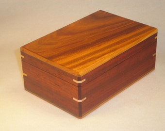 Fiery Padauk Velvet-Lined Jewelry Box with Ring Slots