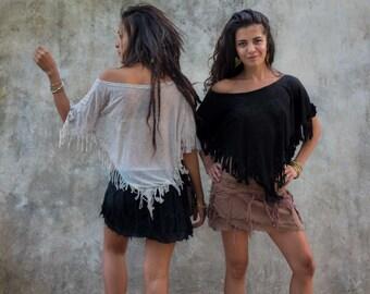 top SHAKTI, burnout fabric, fringed top, gypsy boho clothing, bohemian style