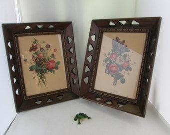 J L Prevost Floral Lithograph in Cut Out Wood Frames pair framed art flower print wood frames picture set flower picture floral print