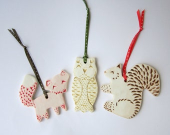 Set of Three Ornaments--Fox, Owl, and Squirrel