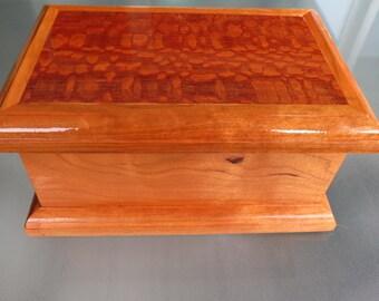 Beautiful Leopardwood and Cherry Jewelry Box