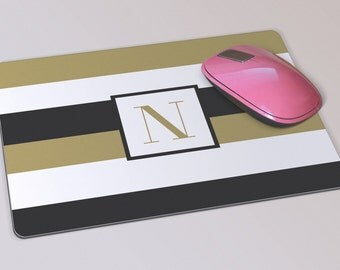 Fabric Mousepad, Mousemat, 5mm Black Rubber Base, 19 x 23 cm - Black & White Gold Stripes Monogrammed Mousepad Mousemat