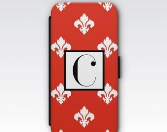 Wallet Case for iPhone 8 Plus, iPhone 8, iPhone 7 Plus, iPhone 7, iPhone 6, iPhone 6s, iPhone 5/5s - Red & White Fleur De Lys Monogram Case