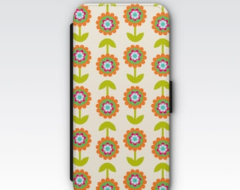 Wallet Case for iPhone 8 Plus, iPhone 8, iPhone 7 Plus, iPhone 7, iPhone 6, iPhone 6s, iPhone 5/5s - Retro Floral Flowers Pattern Case