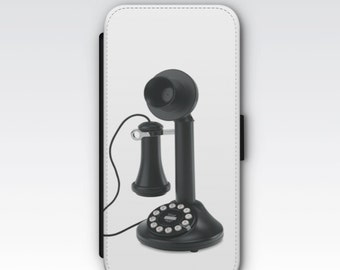 Wallet Case for iPhone 8 Plus, iPhone 8, iPhone 7 Plus, iPhone 7, iPhone 6, iPhone 6s, iPhone 5/5s -  Vintage Telephone Design Wallet Case