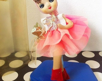 Kawaii vintage Japanese pose doll Pink Blossom /Ayumi Uyama style in 60s