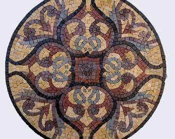 Handmade mosaic marble round tile, handmade mosaic table top.