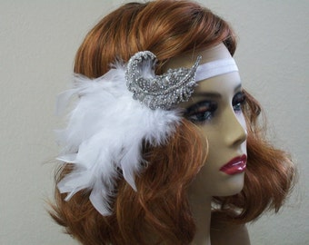 1920s Flapper headpiece, Great Gatsby, 1920s headpiece, Rhinestone feather headband, 1920s Hair accessory,  Art Deco style, Vintage inspired