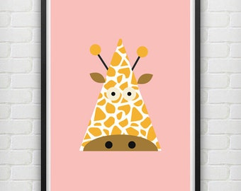 Illustrated Giraffe Poster size A3 (unframed)