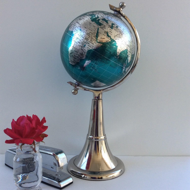 custom globe teal and silver metallic globe this decorative globe has silver fluted metal base median and silver axis knobs - Decorative Globe
