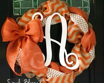 Chevron Burlap Wreath for front door or accent - Orange and White - Fall, Tennessee, Vols