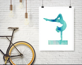 Instant Download - Blue Watercolor Gymnast Gymnastics on Beam -  Wall Art Print Home Decor Poster