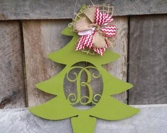 Personalized Christmas Tree Door Hanger - Distressed Initial Christmas Wreath - Winter Door Decor - Personalized Wreath