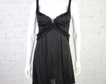1990s Versace Jeans Couture Dress VJC black slinky mini bodycon slip lingerie underwire 26 40 XS