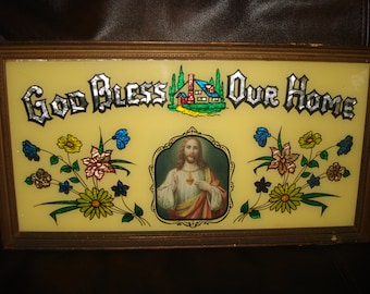 vintage religious wall hanging  god bless our home wall hanging reverse painted glass