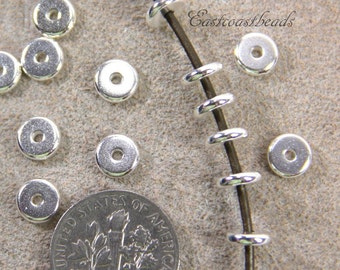 20 or More, Heishi Disk Beads, TierrraCast, 6mm, Coin Spacers Beads, 6 mm Accent Beads, Fine Silver Plated Pewter, 20 or More Pieces, 4211